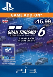 PS3 Gran Turismo 6 2.5 million credit