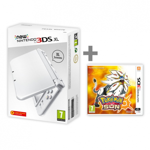 New Nintendo XL Pearl White + Pokemon Sun