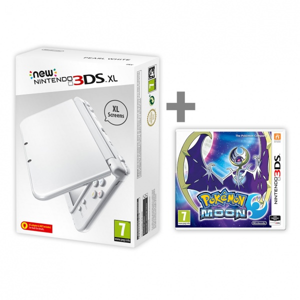 New Nintendo XL Pearl White + Pokemon Moon