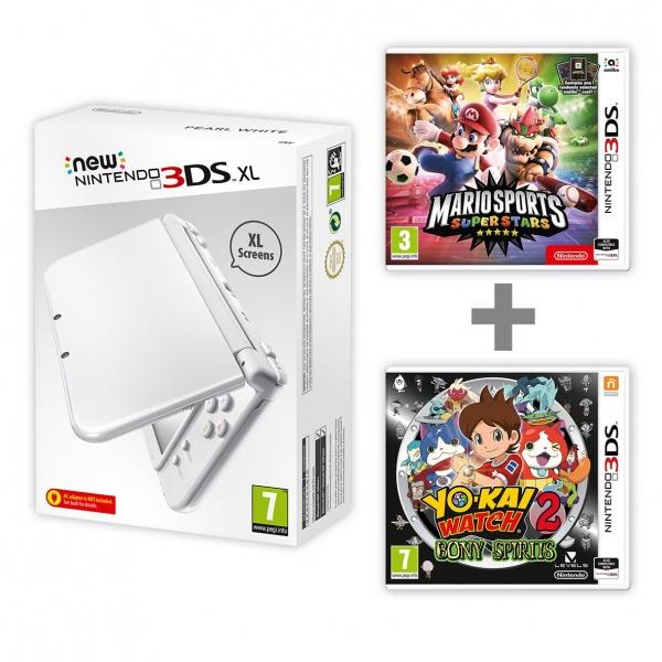 New Nintendo XL Pearl White+Mario Sports + YW2