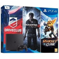 PS4 Konzole 1TB Slim FAMILY Pack (UC4,DC,R&C)