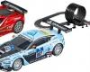Autodráha Carrera GO!!! High Flyer dlouhá 7,4m s dvojitým loopingem, klopenou zatáčkou, kolmou stěnou a auty Ferrari a Aston Martin