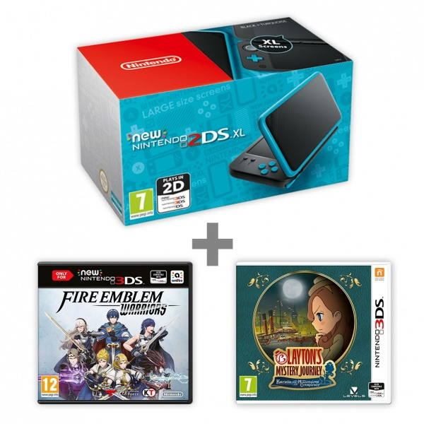 New N2DS XL Black&Turquoise + FEW + Layton's MJ
