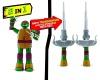 Figurka nebo zbraň? Želvy ninja nabízí oboje v jednom! Z 15cm vysoké figurky se šmahem stanou nunchaky nebo díky nebo meč podle jednotlivých postav
